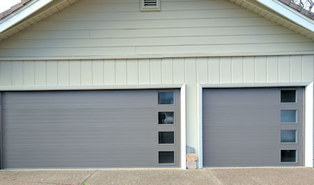 carriage style garage door with windows