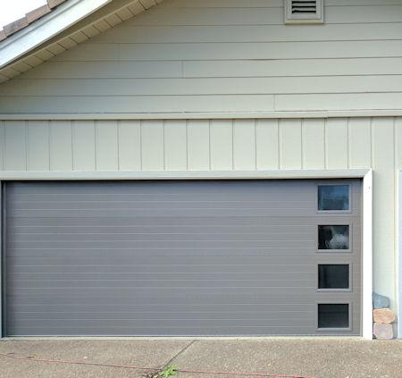carriage style garage door with windows